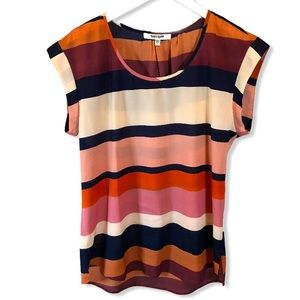 Daniel Rainn Striped Cap Sleeve Blouse Medium